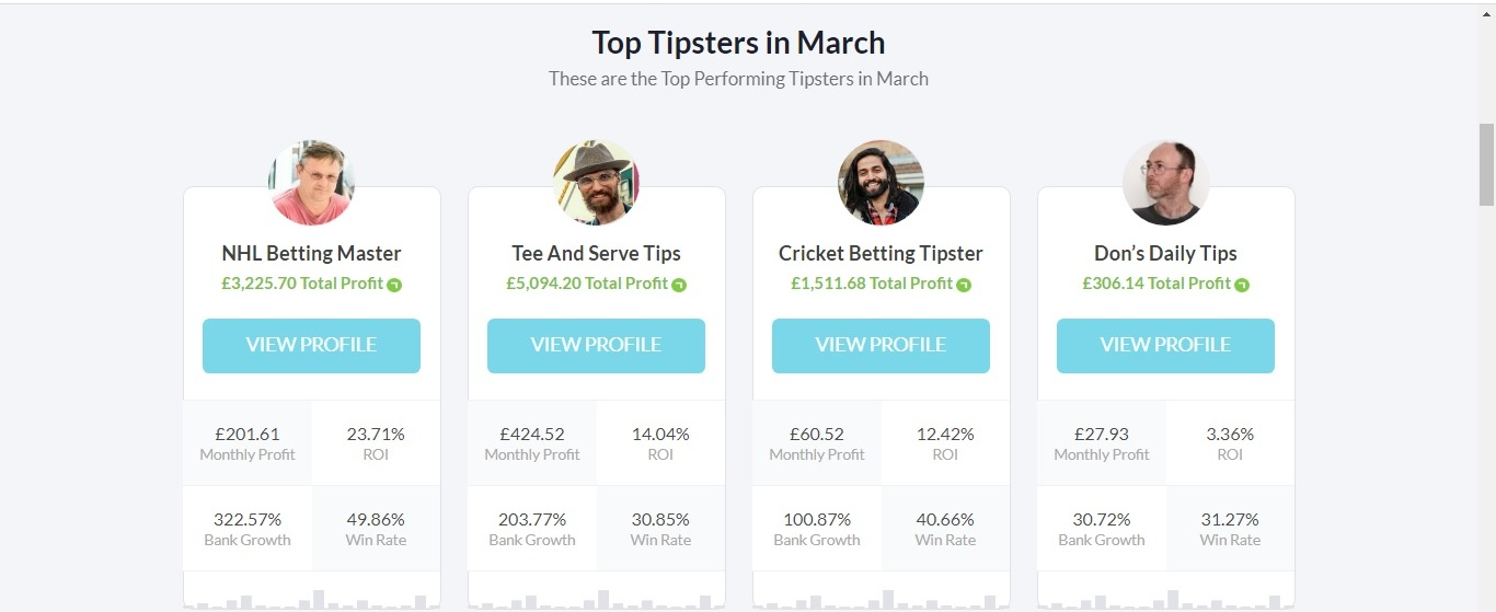 Screenshot of the tipsters of Betting Gods