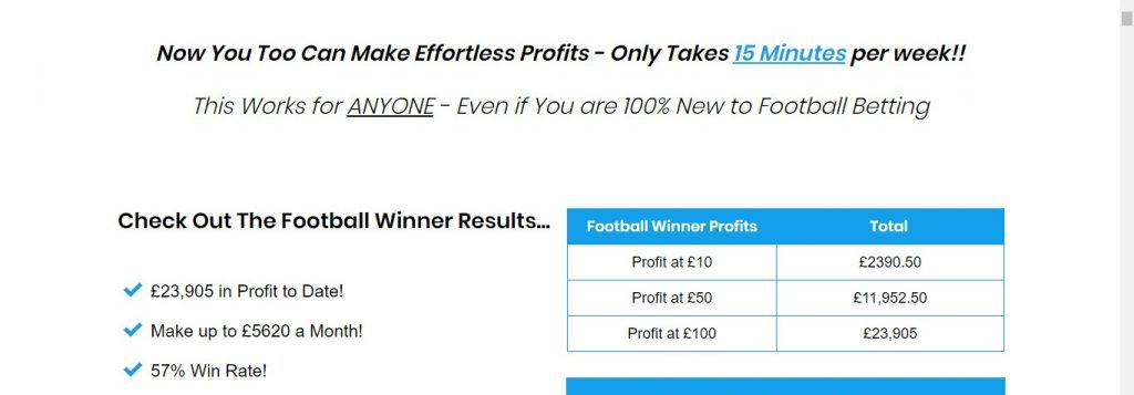 screenshot from the website of the football winner service